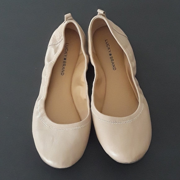 Lucky Brand Nude Ballet Flats Round Toe